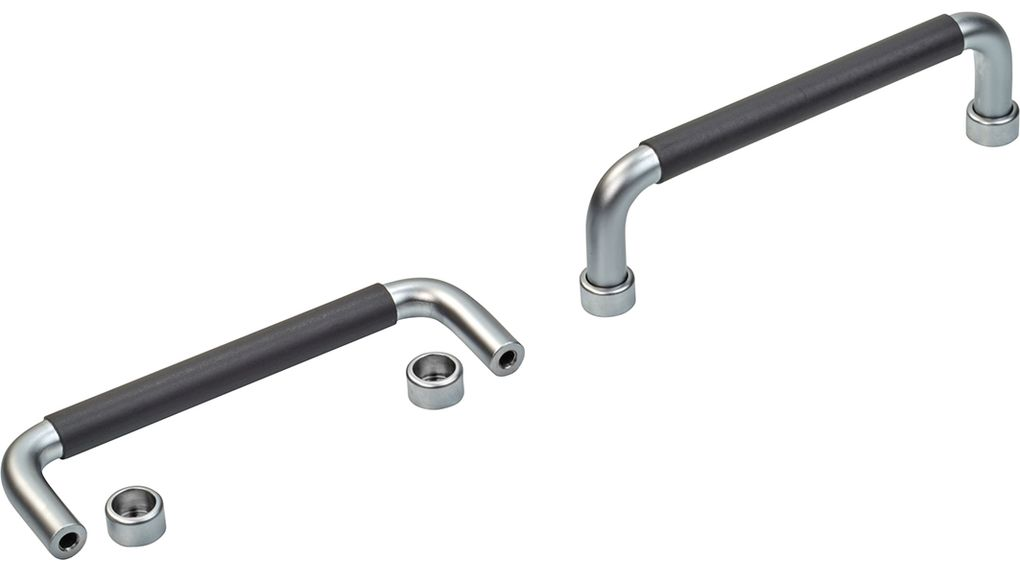 Handle, 120 x 10 x 41 mm, 1000 N 120mm Chrome-Plated Steel Black / Silver