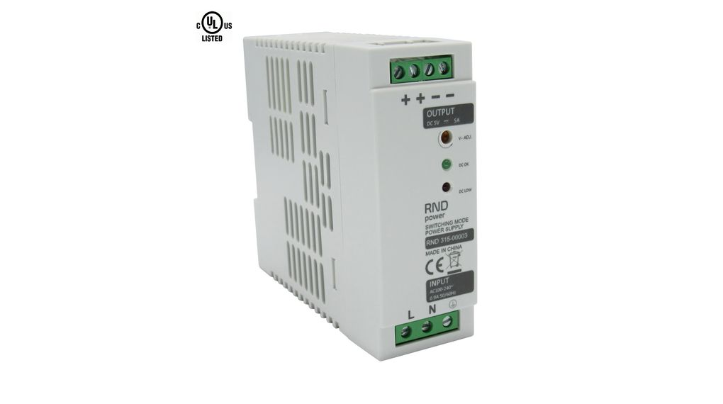 AC/DC DIN Rail Mounted Power Supply Adjustable 5V / 5A 30W