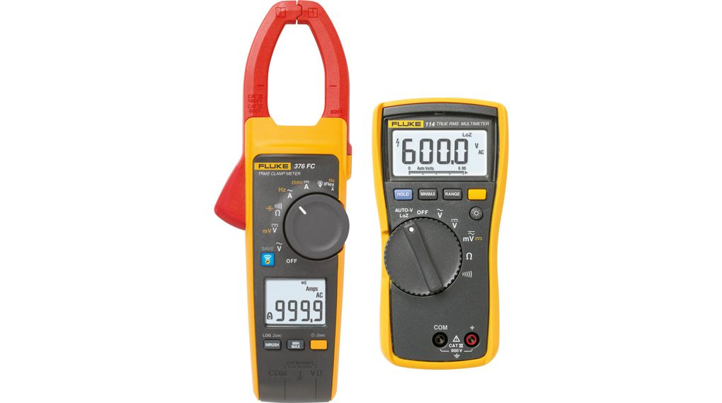Fluke 376 FC True-RMS AC / DC Clamp Meter + FREE 114 Digital Multimeter  60kOhm 500Hz