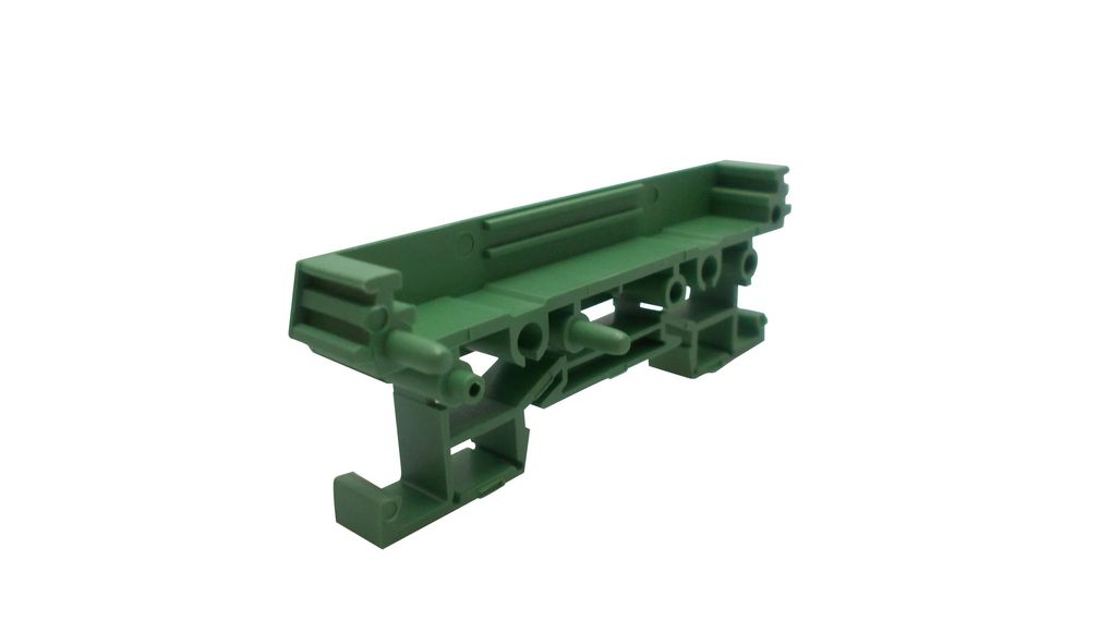 Buy Mini DIN Rail Support End Section with Foot 11.25x40x92mm Green Polyamide IP20