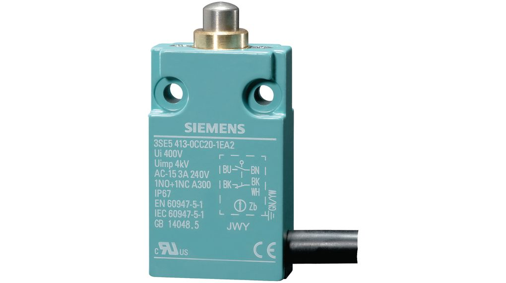1NO // 1NC 4 A Roller Plunger 230 V 9 N Limit Switch